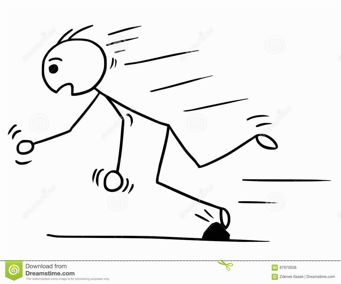 Vector Stickman Cartoon of Man Falling Stumble Trip Over Stone