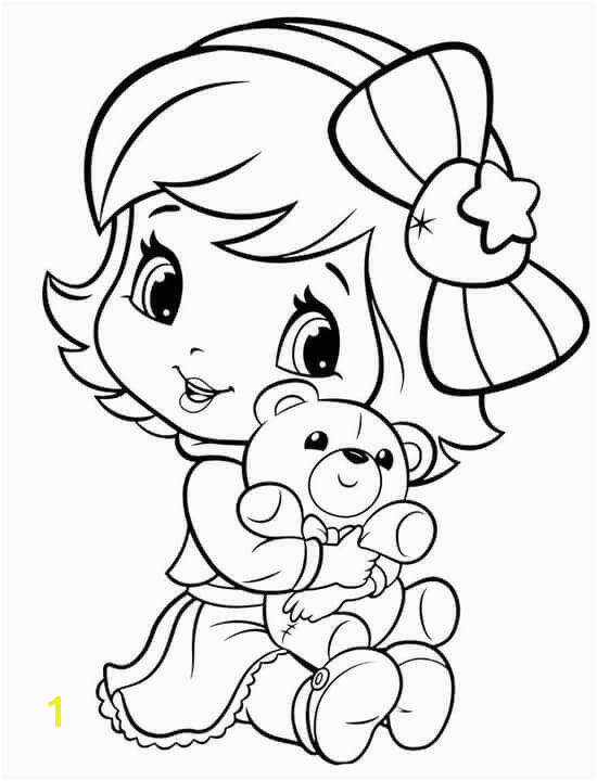Cute girl coloring page Baby Strawberry Shortcake