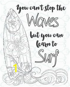 Adult Inspirational Coloring Page printable 03 Learn to Surf