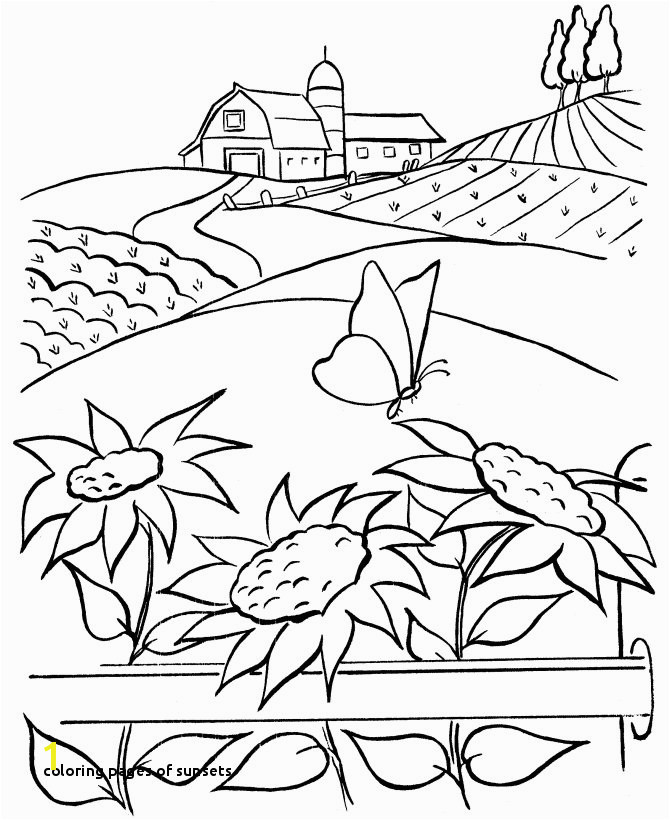 Coloring Pages Sunsets Farm Scenes Coloring Page