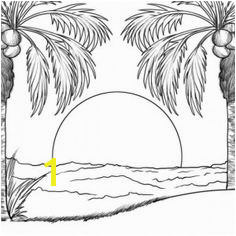 sunset in an island coloring page Beach Sketches Beach Drawing Adult Coloring Pages