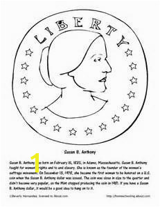December Worksheets and Coloring Pages Susan B Anthony Coloring Page