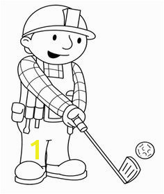 Bob The Builder Palying Golf Coloring Page