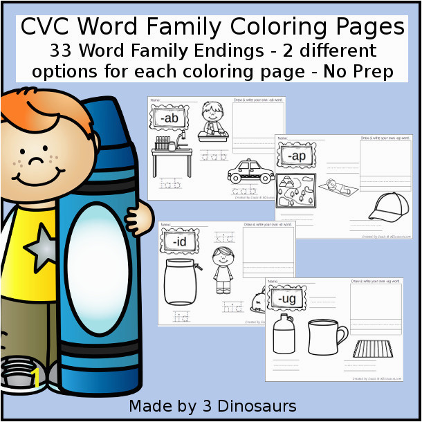 New CVC Word Family Coloring Pages Printable ab ad ag