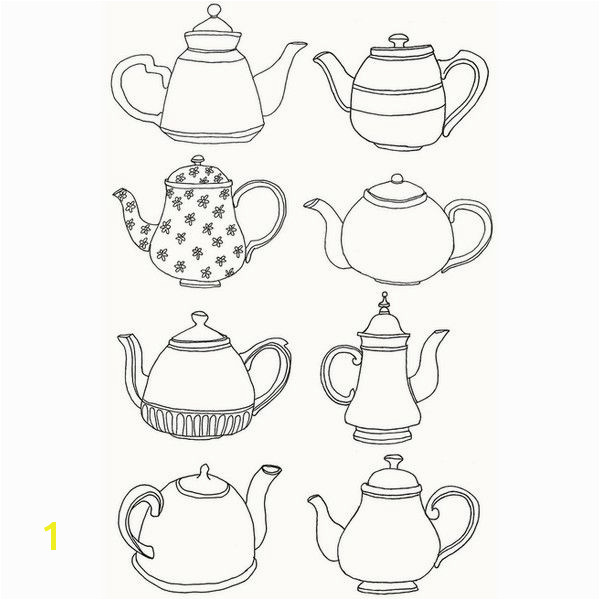 Tea pot line drawings
