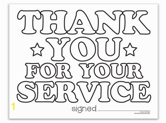 Thank You For Your Service coloring page