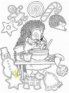 Christmas Hedgie Baking Color Page Colouring Sheets For Adults Coloring Pages For Kids Coloring