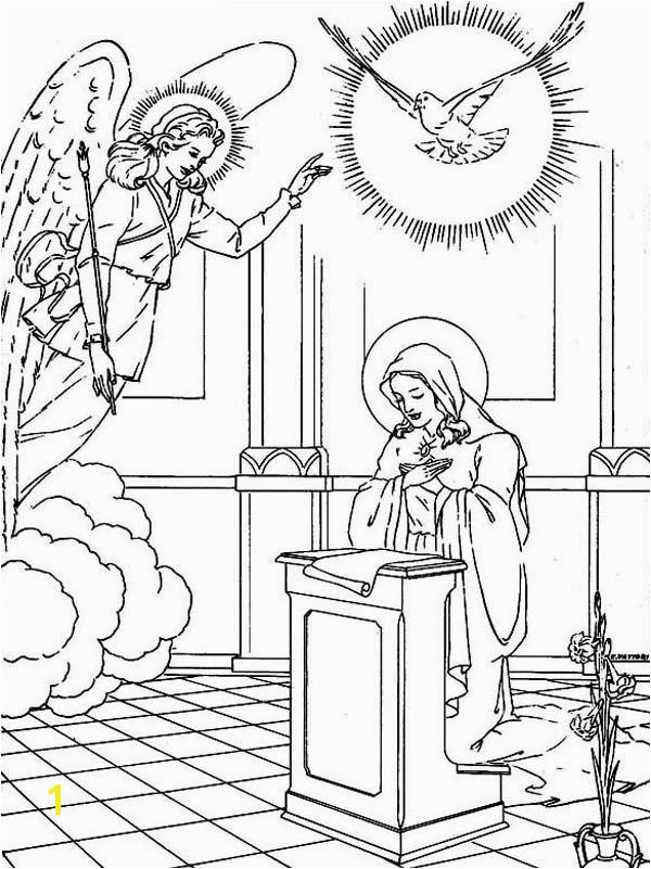 Virgin Mary Angle Gabriel And The Pigeon Saints Day Coloring Page