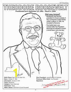 Teddy Roosevelt coloring page from the American Presidents Coloring Book Presidents Day American Presidents