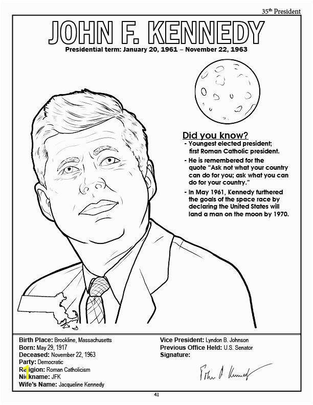 President Theodore Roosevelt Coloring Page President John F Kennedy Coloring Page