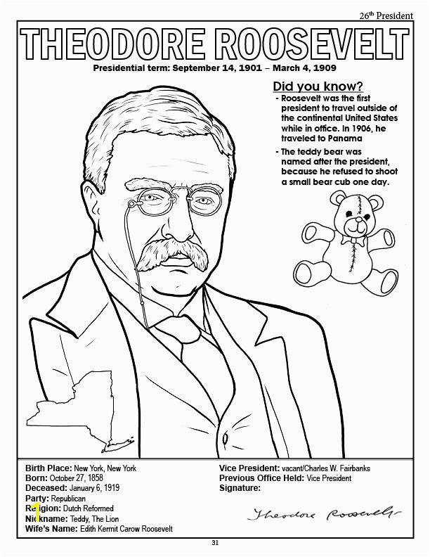 President Abraham Lincoln Coloring Page President Theodore Roosevelt Coloring Page