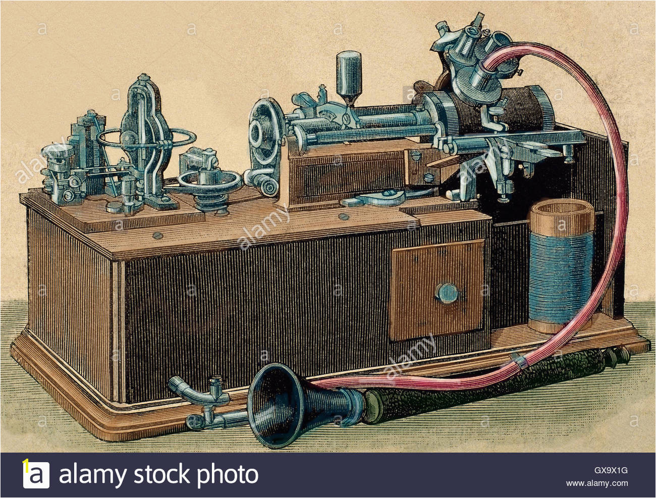 Phonograph invented in 1877 by Thomas Alva Edison 1847 1931 Engraving