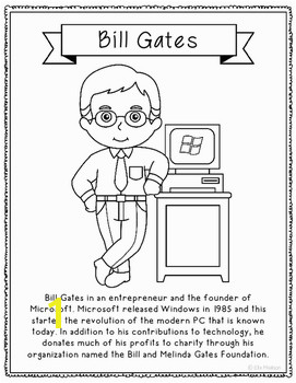 Bill Gates Coloring Page Craft or Poster STEM Technology History