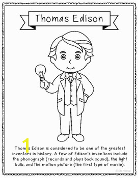 Thomas Edison Coloring Page Craft or Poster STEM Technology History