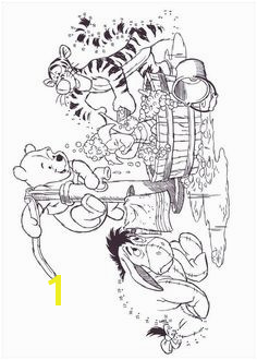 Winnie the Pooh Eeyore Tigger Piglet Bath Coloring pages colouring adult detailed advanced printable Kleuren voor