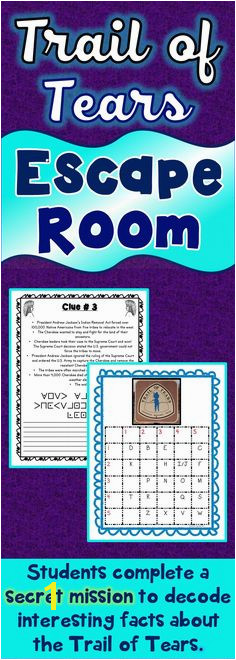 The Trail of Tears Escape Room will take students on a secret mission around the classroom