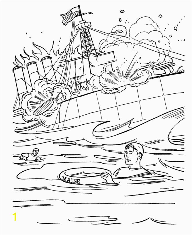 USA Printables The Sinking of the Battleship Maine US History Coloring Pages