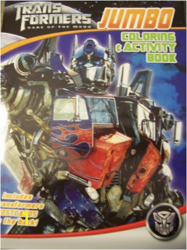 Transformers Dark of the Moon JUMBO Coloring & Activity Book Optimus Prime on Blue