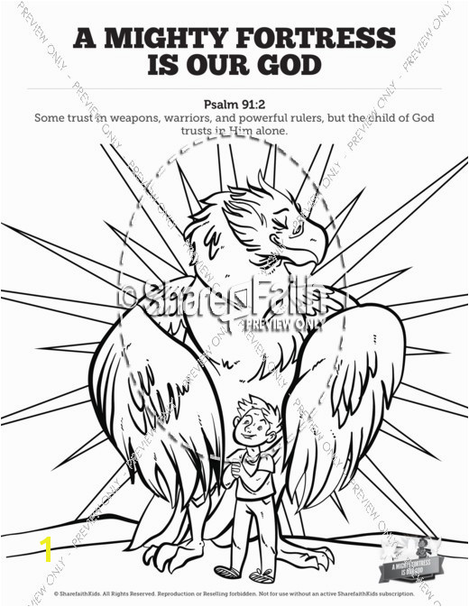 Psalm 91 A Mighty Fortress is our God Sunday School Coloring Pages