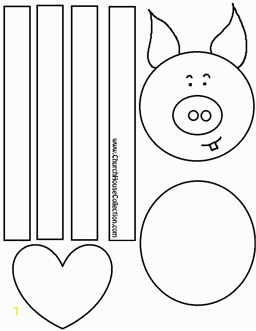 Pig Craft For Valentine s Day For Kids Coloring Page Printable Free Template by Church House Collection COLORED WITH and Without WORDS