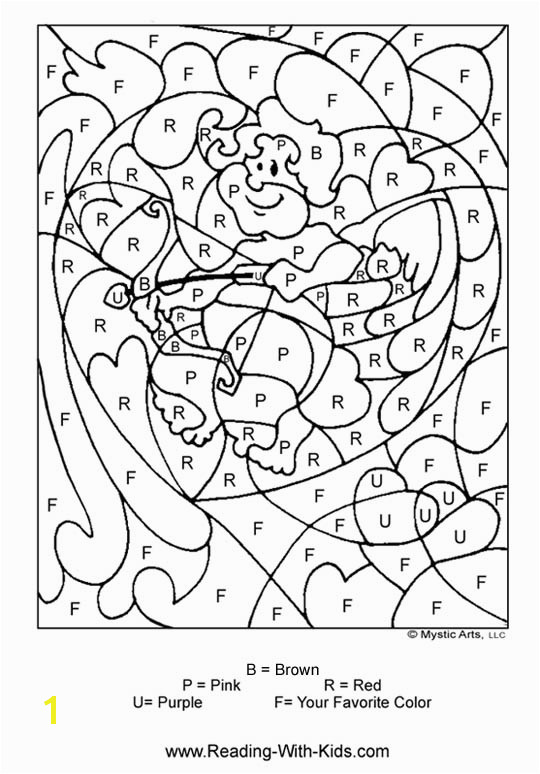 valentine cupid color by letter coloring page