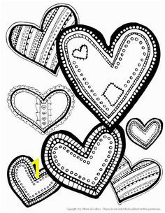 Hearts Coloring Page Download