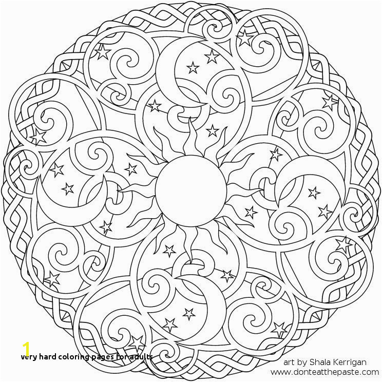 Very Hard Coloring Pages for Adults Celestial Mandala Box Card and Coloring Page
