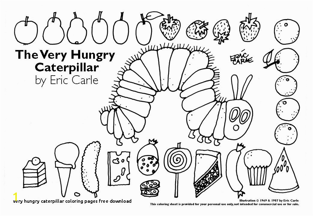 Very Hungry Caterpillar Coloring Pages Free Download Food and Nutrition theme Preschool songs and Printables