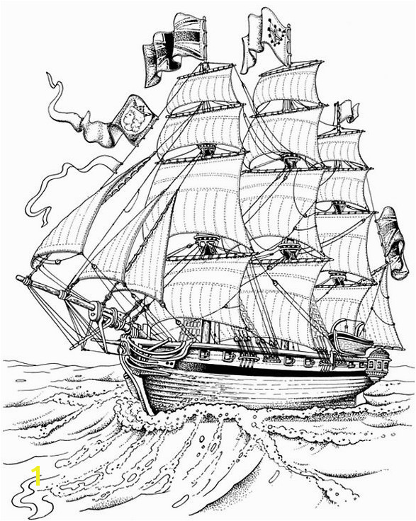 War Ship Coloring Pages Full Rigged Ship Ships
