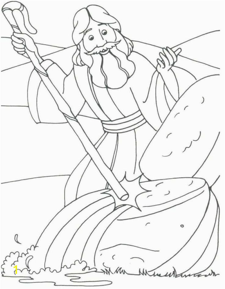 Water From the Rock Coloring Page Moses Coloring Pages