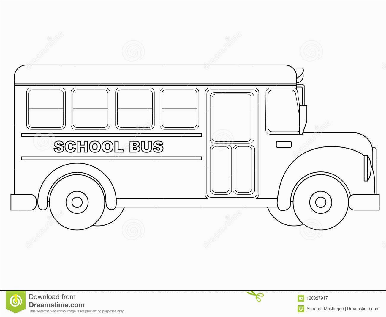 Vector Illustration School Bus Coloring Page