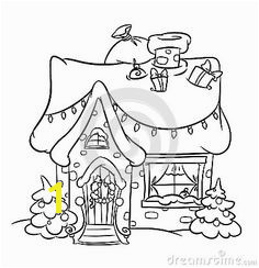 Christmas Snow House coloring pages illustration cartoon