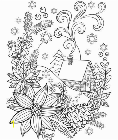 Cabin In The Snow Coloring Page