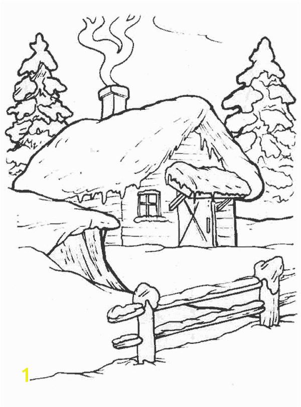 Dibujos para colorear de Casas de navidad Navidad de deseos Winter Cabin Winter House