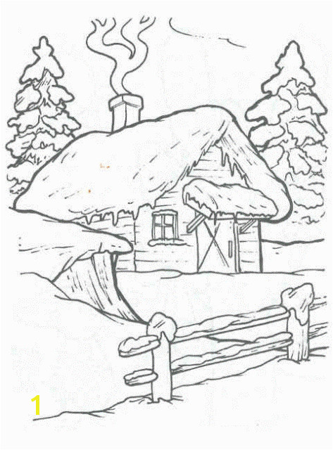 Peisaje iarna desene Winter Cabin Winter House Coloring Sheets Adult Coloring Coloring