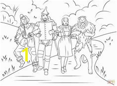 scarecrow tin man dorothy and cowardly lion in Wizard of Oz coloring pages