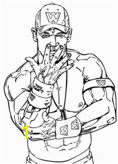 Wrestler John Cena coloring page This Wrestler John Cena coloring page is the most beautiful among all coloring sheets