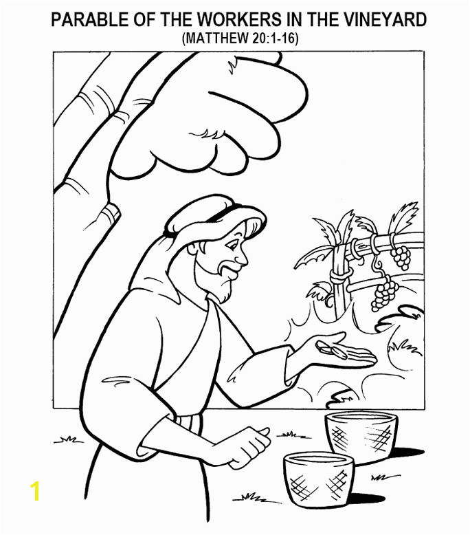 Coloring page for Matthew 20 1 16 parable of the workers in the vineyard