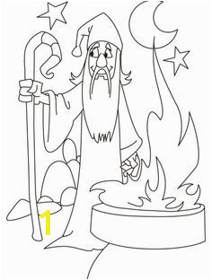 Wizard needs someone to plete his mission coloring pages
