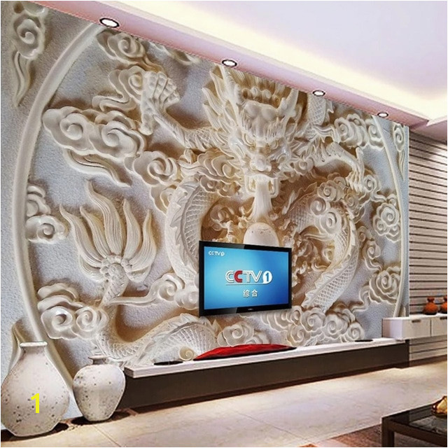 Custom 3D Wall Murals Wallpaper Chinese Style Dragon Relief Mural 3D Stereoscopic Art Living Room TV Background Wall Paper