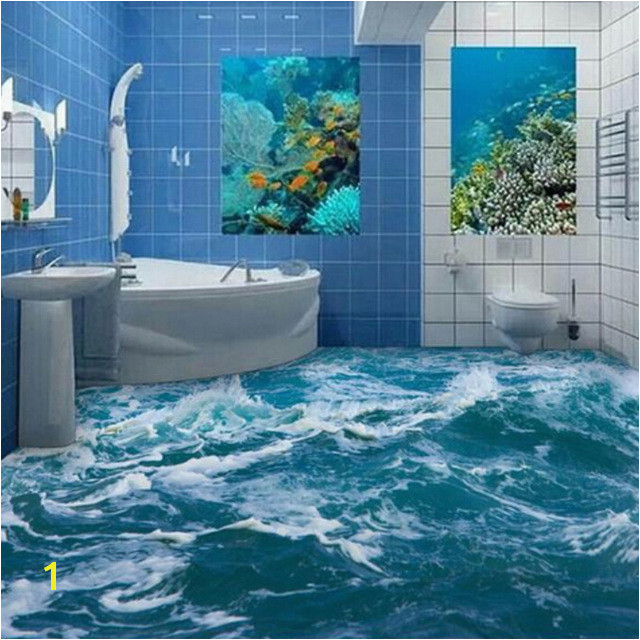 Custom 3D Floor Mural Wallpaper Sea Water Wave Bathroom 3D Floor Mural PVC Waterproof Self