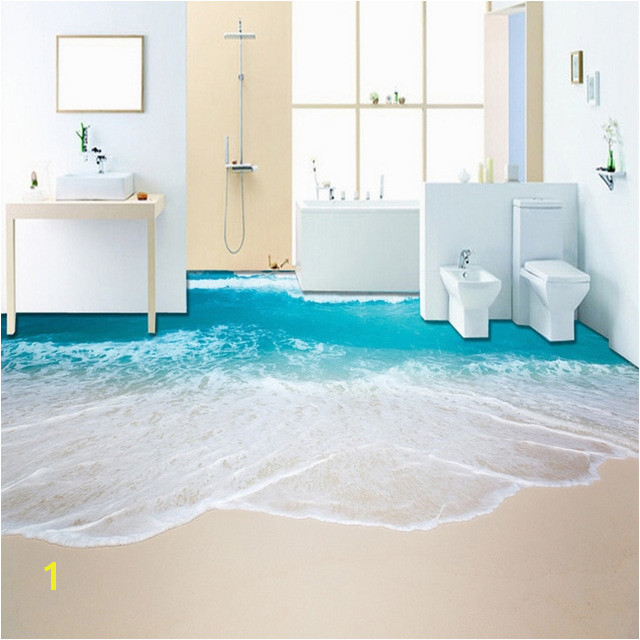 PVC Self Adhesive Waterproof 3D Floor Murals Sea Wave Bathroom Living Room 3D Floor Tiles Wallpaper Sticker Papel De Parede 3 D