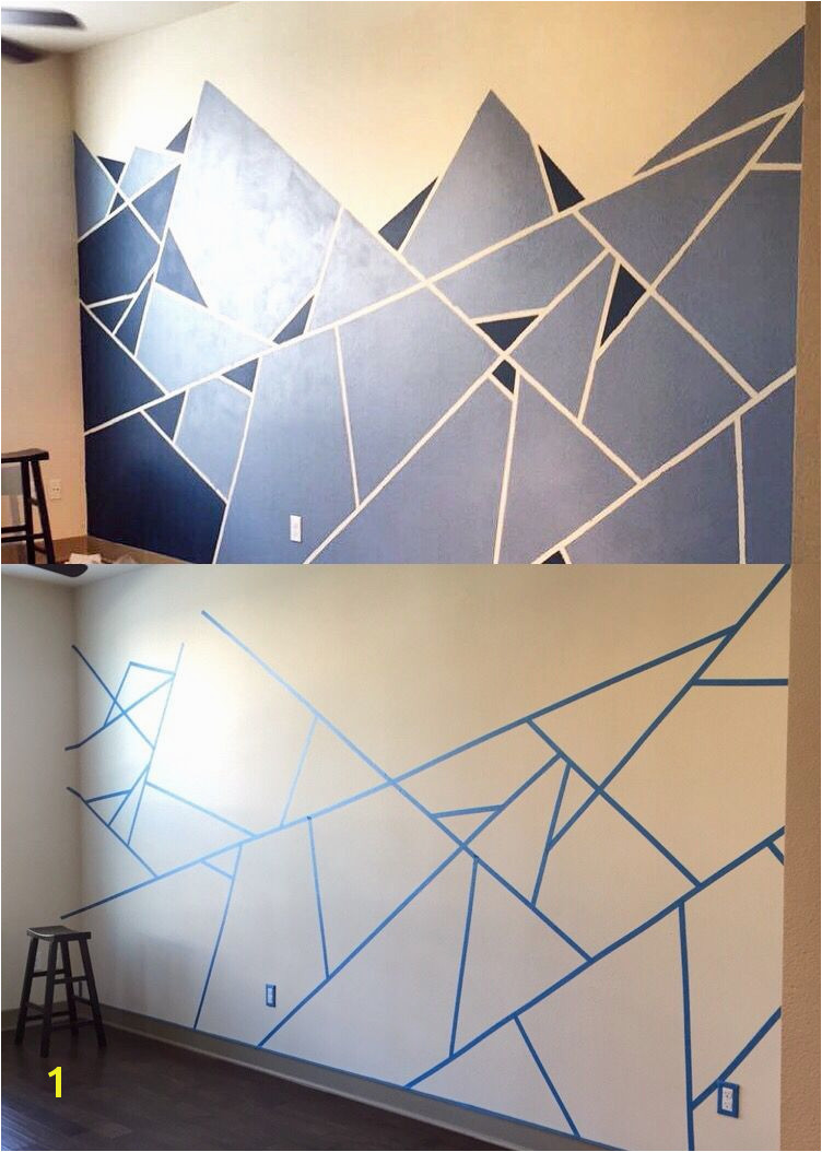 Abstract Wall Design I used one roll of painter s tape and two shades of blue The edges are rough so make sure the tape is secure on the wall or else