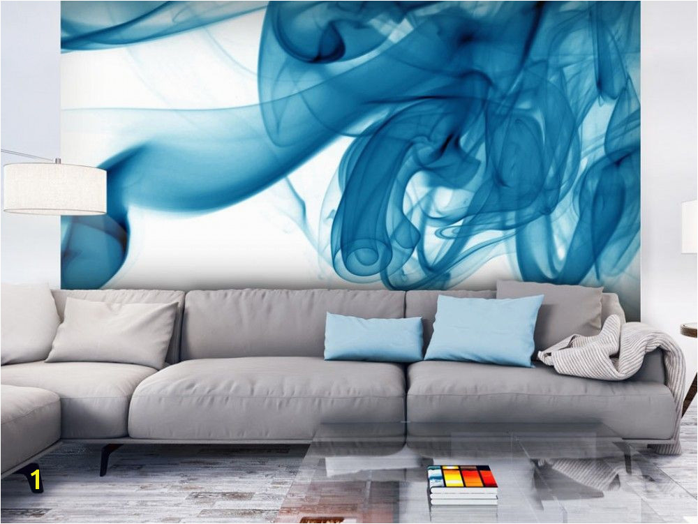 Abstract Wall Mural Designs Wall Mural Blue Smoke Modern Abstract Wall Murals