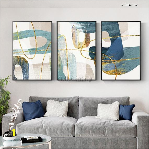 Gold Abstract painting acrylic paintings on canvas huge size original painting 3 pieces Wall Art han