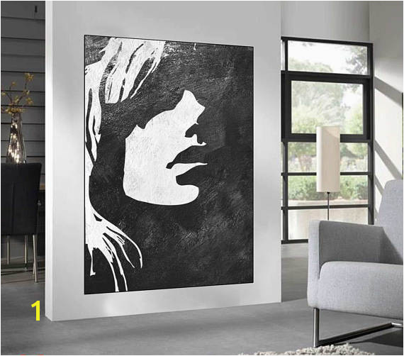 Black White Minimalist Abstract Painting woman face silhouette large acrylic painting Black and White minimalist wall art