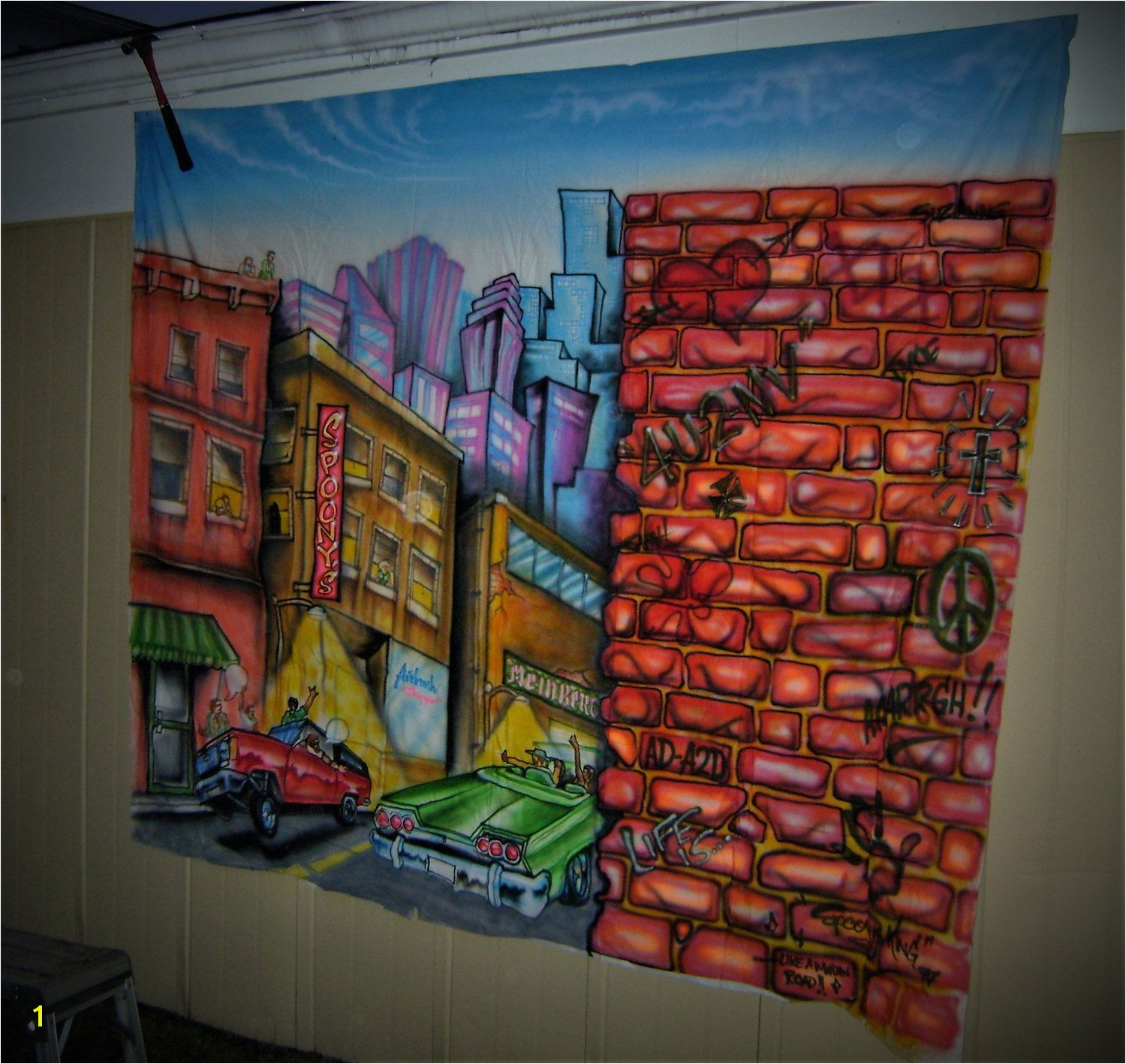 "Night Life City Scene Mural hand painted by ""Uber Spoony G"""