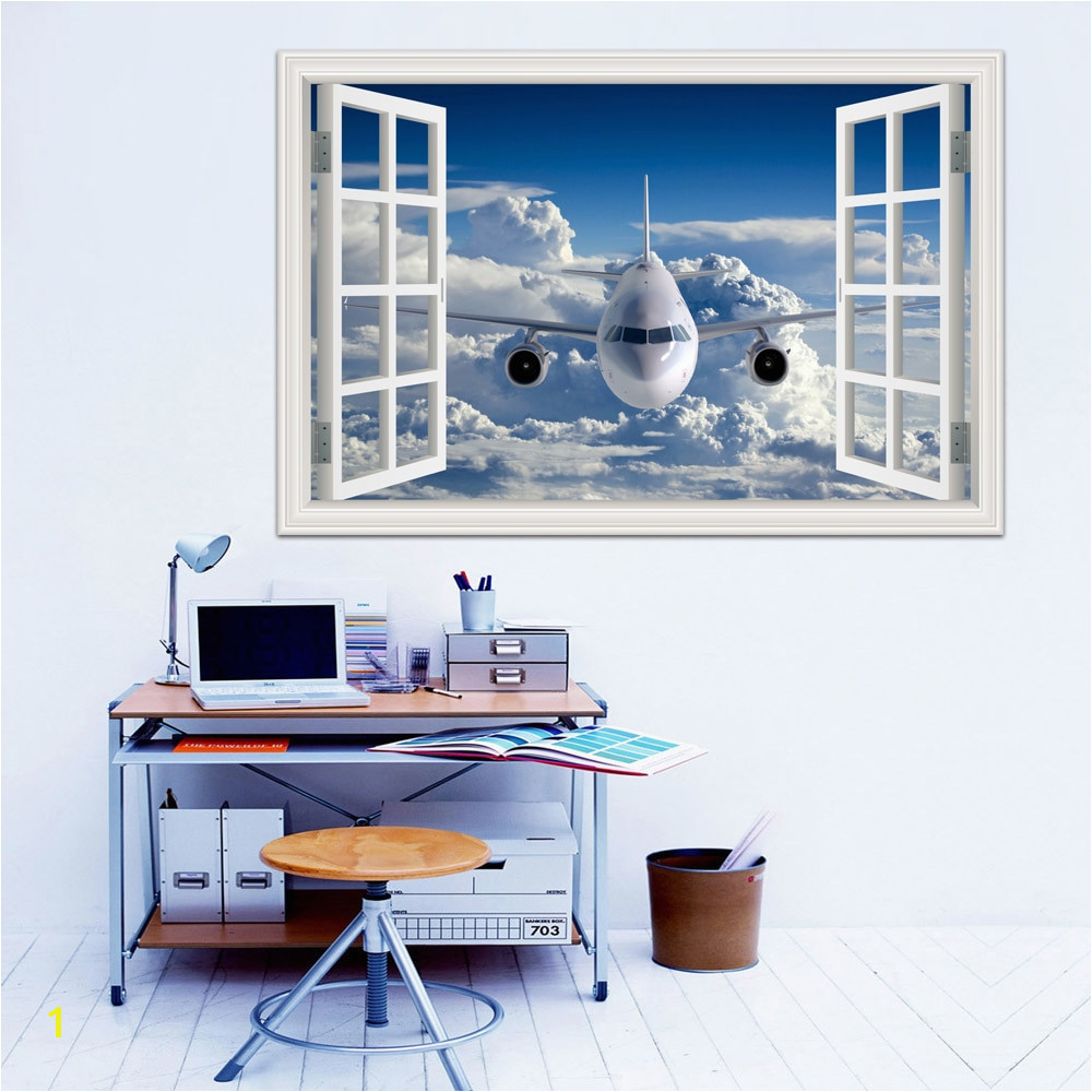 3d Airplane Wallpaper Removable Wall Sticker Vinyl Wall Art Mural Szie Window View Blue Sky Decal Home Decor Living Room in Wall Stickers from Home