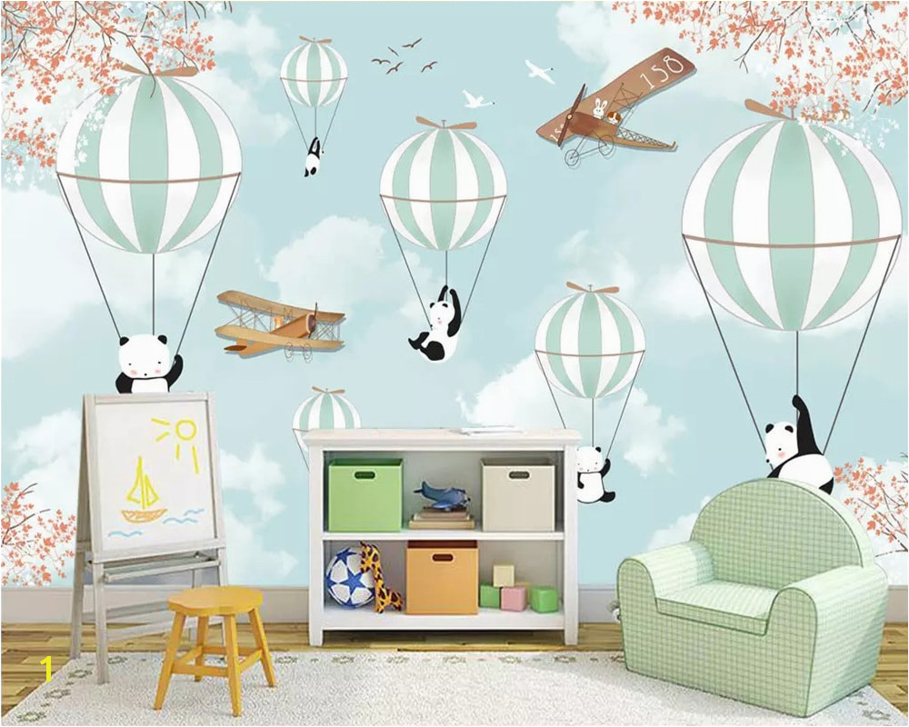 beibehang Custom wallpaper cartoon hand painted animal hot air balloon aircraft mural Children room background wall 3d wallpaper