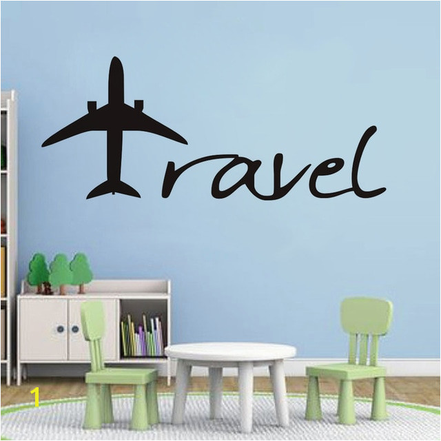 Cartoon Aircraft Wall Sticker Travel Letters Design Wall Decal Baby Nursery Kids Room fice Mural Muursticker